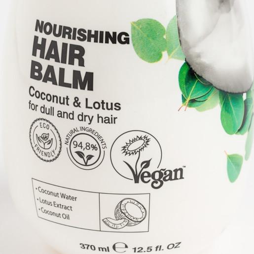 Balsam cu ulei de cocos și lotus pentru păr uscat și tern